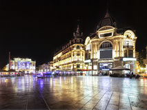 Place de la comédie in Montpellier at night. France royalty free stock photo