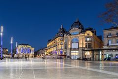 Place de la Comedie square at dusk, Montpellier, France. Place de la Comedie at dusk - large square in the center of Montpellier, Occitanie, France Royalty Free Stock Photo