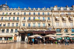 Place de la Comedie, Montpellier. MONTPELLIER, FRANCE - SEPTEMBER 22, 2018: Place de la Comedie is a main square in Montpellier city in southern France stock photos