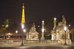 Place de la Concorde bis zum Nacht Lizenzfreies Stockbild