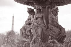 Place de la Concorde and Eiffel Tower. In Black and White Sepia Tone in Paris, France Royalty Free Stock Images