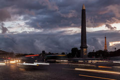 Place de la Concorde at night and Luxor Obelisk Stock Photography