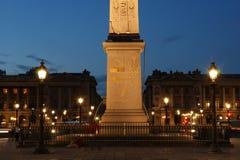 Place de la Concorde and  Obelisk of Luxor at Night, Paris Stock Photo