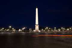 Place de la Concorde and  Obelisk of Luxor at Night, Paris Stock Photo