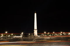 Place de la Concorde and  Obelisk of Luxor at Night, Paris Royalty Free Stock Photo