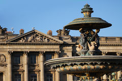 Place de la Concorde, one of the most vising landmark in Paris at the end of the Champs Elysees, square, french revolution, king l Stock Photos