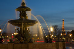 Place de la Concorde - Paris. Fountain in Place de la Concorde at dusk, Paris, France Royalty Free Stock Photography