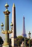 Place de la Concorde Paris France, eiffel tower, obelisk of luxor Royalty Free Stock Photography