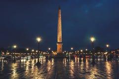 Place de la Concorde in Paris, France at night Stock Photos