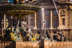 Place de la Concorde, Paris. View of the fountain of Place de la Concorde, Paris Royalty Free Stock Photography