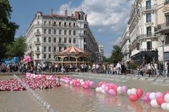 Place DE La Republique in Lyon tijdens Festival van Rozen Stock Foto