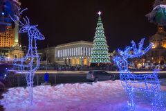 Place de Maidan Nezalezhnosti - vacances de Ney Year et de Noël Photos stock