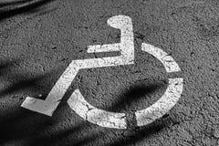 Place de parking de signe de fauteuil roulant Photographie stock