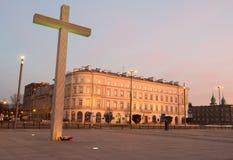 Place de Pilsudski avec la croix dans Warszaw, Pologne Image libre de droits