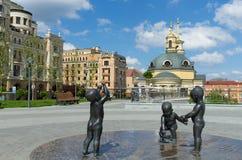 Place de Poshtova à Kiev Photographie stock libre de droits
