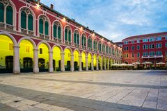 Place de Prokurative dans la fente, Croatie au lever de soleil images libres de droits
