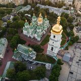 Place de Sofievskaya et St Sophia Cathedral à Kiev, Ukraine photo stock