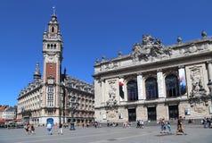 Place de Theatre在里尔,法国 库存照片