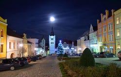 Place de Vimperk dans la nuit Photographie stock