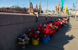 Place of death of Boris Nemtsov -On the bridge near the Kremlin in a few years all the colors. MOSCOW MARCH 10, 2016 stock photography