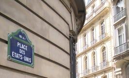Place des États-Unis, Paris, France. Blue and green sign designating Place des États-Unis in the 16th arrondissement in Paris, France Royalty Free Stock Image