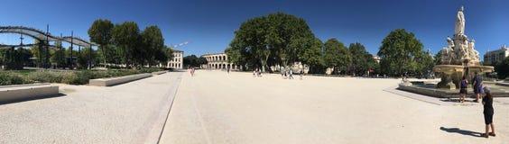 Place des Arènes panorama, Nîmes, France Stock Image