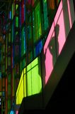 Place des arts Montreal. Colored glass in place des arts Montreal stock images