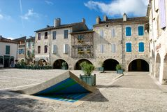 Place des Cornières Lauzerte στοκ εικόνες με δικαίωμα ελεύθερης χρήσης
