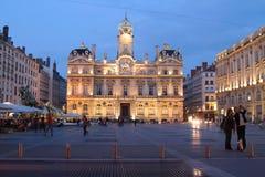 Place des Terreaux bij het blauwe uur royalty-vrije stock fotografie