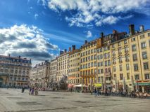 Place des terreaux and the fountain batodi, Lyon old town, France Royalty Free Stock Photography