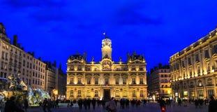 Place des Terreux en het stadhuis van Lyon, Frankrijk Royalty-vrije Stock Foto