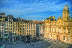Place des terreux and the Lyon city hall, Lyon old town, France Royalty Free Stock Photo