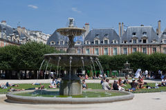 Place des Vosges Fountain Paris France Royalty Free Stock Photos