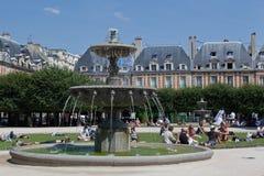 Place des Vosges Fountain Paris France Royalty Free Stock Photos