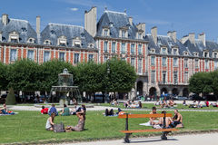 Place des Vosges Fountain Paris France Royalty Free Stock Photo