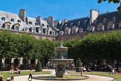 Place des Vosges Fountain Paris France Stock Photography