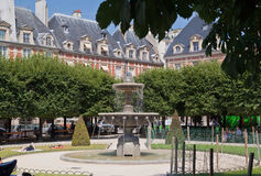 Place des Vosges Fountain Paris France Stock Photo