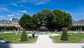 Place des Vosges Fountain Paris France Stock Photos