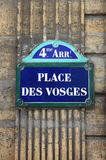 Place des Vosges street sign Royalty Free Stock Images