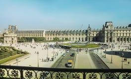 Place du Carrousel van de zuidelijke vleugel van het Louvrepaleis Stock Afbeeldingen