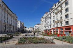 Place du Général-Brosset in Lyon. LYON, FRANCE, March 22, 2018 : Place du Général-Brosset in Lyon, in front the ancient railway station of Lyon Stock Photos