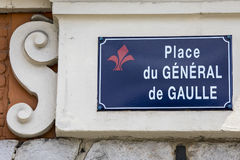 Place du General de Gaulle in Lille. Street sign for Place du General de Gaulle in the historic city of Lille in France Stock Photos