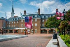 Place du marché et ville hôtel, dans la vieille ville, l'Alexandrie, la Virginie Photos libres de droits
