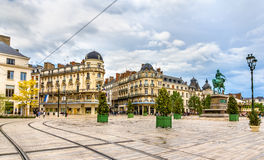 Place du Martroi, the main square of Orleans Stock Photos