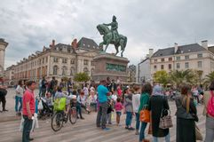 Place du Martroi, the main square of Orleans - France Royalty Free Stock Photography