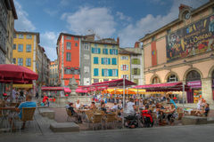 Place du Plot in Le Puy-en-Velay, France. Central pedestrian square in the pilgrimage town of Le Puy-en-Velay, central France. Editorial HDR image Royalty Free Stock Photos