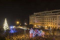 Place du ` s d'Aristote à Salonique avec l'arbre de Noël Photo libre de droits