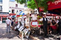 place du Tertre在蒙马特,巴黎,法国 免版税库存图片