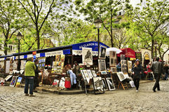 Place du Tertre a Parigi, Francia Fotografia Stock Libera da Diritti