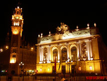 Place du Theatre. Opera in Lille, France - night shot with lighting Royalty Free Stock Image